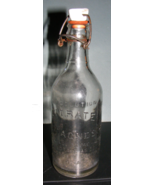 Vintage Citrate of Magnesia Embossed Glass Bottle Wire Lid & Porcelain Lid - $30.00