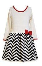 Little Girls Ivory Chevron Stripe Intarsia Drop Waist Sweater Dress, X3-TDLG-...