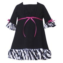Rare Editions Toddler Girls 2T-4T BLACK WHITE ZEBRA ANIMAL PRINT TIERED-RUFFL...