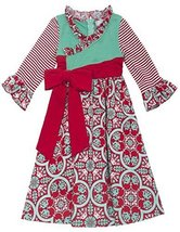 Rare Editions Girls 2T-16 Red Green Crossover Mix Print Dress/Headband Set (6...