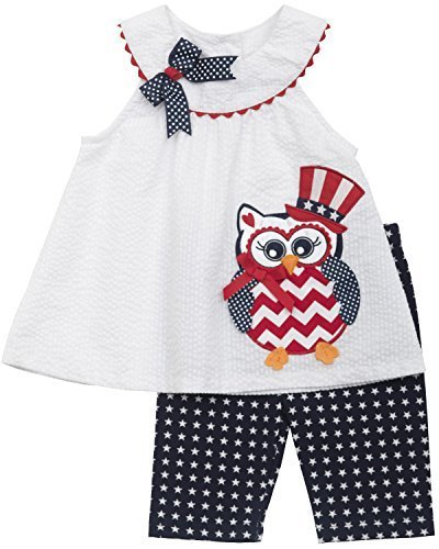 Little Girls Red White Blue Owl Applique Americana Patriotic Dress/Capri Set,...
