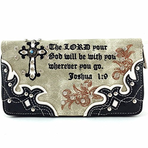 Bible Verse Joshua 1:9 Zip Around Wallet Clutch Purse Wristlet (Black)