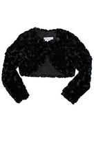 Baby Girls Black Rosette-Swirl Faux Fur Bolero Jacket, W1-BBNI-WIN15-Bonnie B...