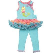Baby Girls 3M-24M Mermaid Tutu Dress/Legging Set, Rare Editions (6 Months, Aqua)