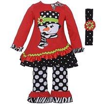 Rare Editions Baby Girls 3M-24M Red Snowman Applique Tunic Headband Legging S...