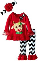Rare Editions Little-Girls 2T-6X Red Chevron Reindeer Applique Legging Set (6...