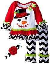 Rare Editions Little-Girls 2T-6X Snowman Applique Legging Set (4, Red) [Apparel] image 2