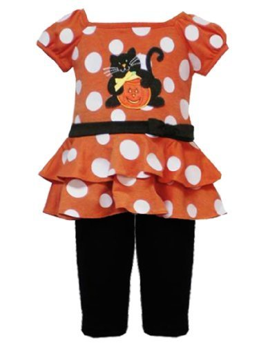Size-6/9M RRE-11918F, ORANGE WHITE DOT PRINT Smiling Pumpkin and Cat APPLIQUE...