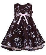 Brown Pink White Butterfly Embroidered A-Line Dress BR2HA, Brown, Rare Editio... - $36.53