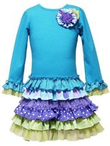 Size 6 X Rre 50342 E Turquoise Blue Long Sleeve Multi Mix Print Ruffle Skirt Sp... - $44.45