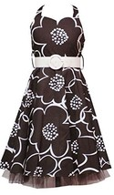 Rare Editions Girl Plus Brown Ivory Belted Floral Halter Dress (12.5, Brown)