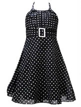 Size-2T, Black, RRE-17128, Black White Dot Print Buckle Halter Dress, Rare Ed...