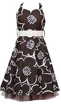 Rare Editions Girl Plus Brown Ivory Belted Floral Halter Dress (14.5, Brown)