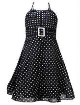 Size-4T/4, Black, RRE-17128, Black White Dot Print Buckle Halter Dress, Rare ...