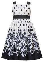 Ivory Black Dots to Floral Border Print Dress IV4BA, Ivory, Rare Editions Twe...