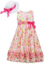 Bonnie Jean Big Girls Easter Dress and Hat Pink Floral 8 [Apparel]