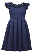 Big Girls Plus Navy-Blue Floral Neckline Box Pleat Jacquard Fit Flare Dress, ...