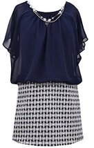 Girls Plus Navy-Blue Chiffon Blouson Basket Weave Foil Jacquard Dress, Bonnie...