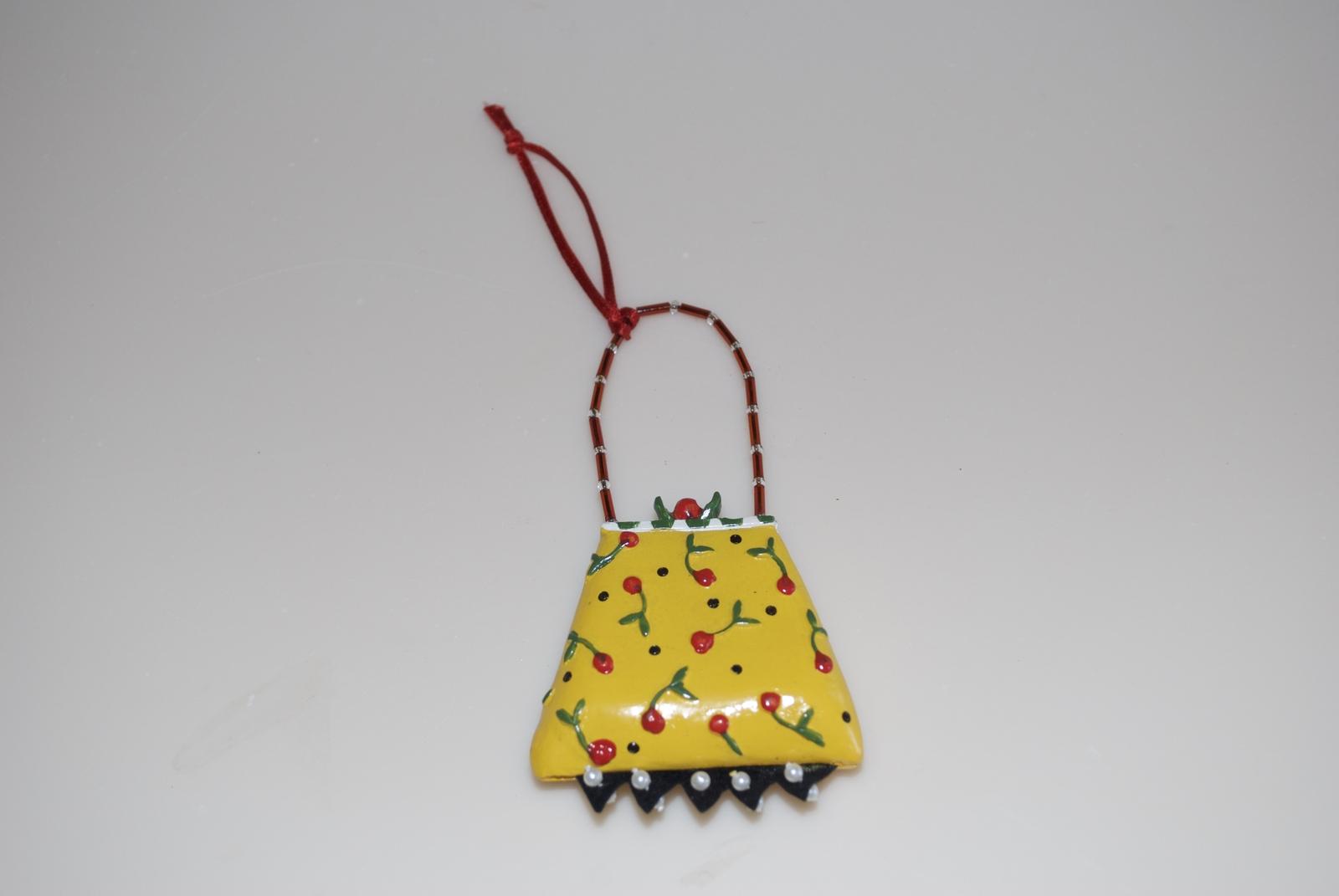 Mary Engelbreit Christmas Yellow Red Cherry Purse Handbag Ornament