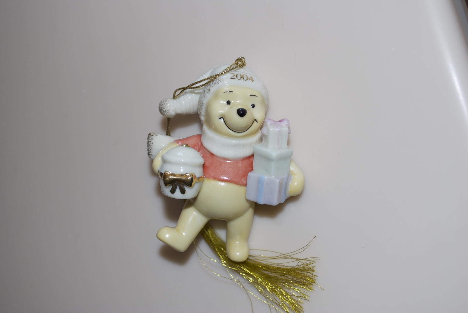 Winnie the Pooh Lenox DIsney 2002 Ornament with Honey Pot, Presents, Cookie Jar