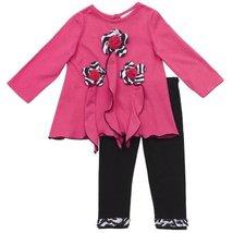 Rare Editions Baby Girls' 3D Flower Applique Knit Legging Set, Fuchsia/Black,...