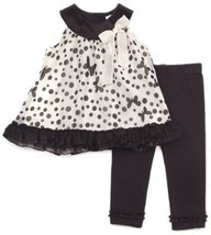 Rare Editions Baby-girls Newborn Ruffle Hem Legging Set, Ivory/Black, 6 Months
