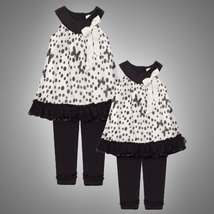 Size-4T/4 RRE-59732F, 2-Piece IVORY BLACK DOTS and BUTTERFLY TEXTURED CHIFFON...