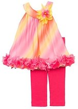 Fuchsia Yellow Bias Ombre Chiffon Dress/Legging Set FU6HA, Fuchsia, Rare Edit...