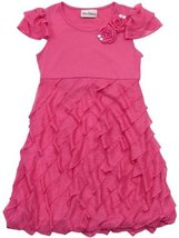 Rare Editions Girls 2-6X Eyelash Ruffle Bubble Knit Dress (4, Fuchsia) [Apparel] - $39.50