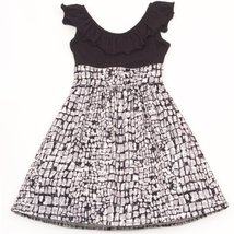Rare Editions Big Girls' Print Woven Dress, Black/White, 16 [Apparel] - $44.35