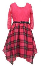 Girls Plus Fuchsia-Pink Belted Lace and Plaid Chiffon Shark Bite Hem Dress, B...