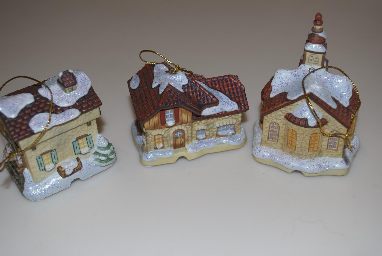 Hummel Bradford Editions Bavarian Village Christmas Ornaments Postamt Bahnhof