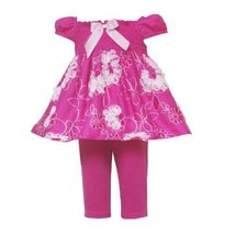Rare Editions Baby 3M-9M 2-Piece FUCHSIA-PINK WHITE SMOCKED SOUTACHE EMBROIDE...