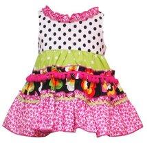 Rare Editions Baby/Infant Girls 3M-9M FUCHSIA-PINK BLACK WHITE RUFFLE NECKLIN...
