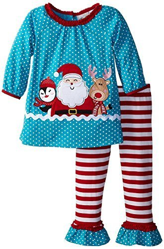 Rare Editions Baby-Girls 3M-24M Turquoise/Red Happy Santa Knit Legging Set (2...