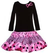 Size-4T, Fuchsia Black Velvet Flock Print Tiered Dress, Rare Editions Little ... - $38.51