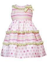 Rare Editions Little Girls 4-6X FUCHSIA-PINK LIME-GREEN DOTS WAVE RUFFLE Spec...