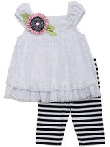 Baby-Girls Infant 12M-24M White Floral Lace Bubble Dress/Legging Set (24M, Wh...