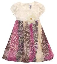 Size-6 RRE-61872F, Mix Animal Print Lace Bodice Bubble Dress, Rare Editions G... - $44.35