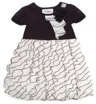 Size-2T, Ivory, Ivory and Black Bias Eyelash Ruffle Bubble Dress, Rare Editio... - $36.04