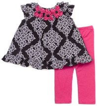 Rare Editions Baby Girls' Floral Print Knit Legging Set, Black/White/Fuchsia,...