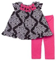 Rare Editions Baby-girls Infant Floral Print Knit Legging Set, Black/White/Fu...