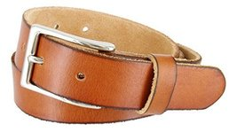 "Women's Vintage Style Full Grain Leather 1-1/8"" Wide Belt (Tan, 44) - $22.72"