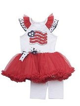 Baby Girls Newborn Red White Blue Heart Flag Applique Tutu Dress/Legging Set,...