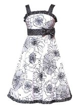 Rare Editions Girls PLUS Size IVORY BLACK FLORAL PRINT POLKA DOT TRIM Special...
