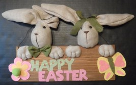 Dan Dee Easter Sign Hanging Wood Wooden 3-D Burlap Bunnies Seasonal Decor - $23.27