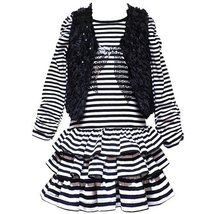 Size 6 X Rre 54251 F 2 Piece Black White Striped Tiered Skirt Sequin Bow Faux F... - $36.04