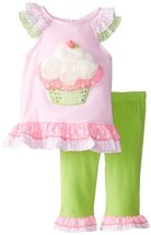 Rare Editions Baby Baby-Girls Newborn Cupcake Applique Legging Set, Pink/Lime...