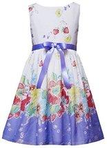 Purple Bow Front Multi Floral Border Print Dress PU7NA, Purple, Rare Editions...