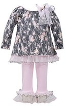 Baby Girls Grey/Pink Bonded Lace Floral Print Dress/Legging Set, W1-BBNI-WIN1...